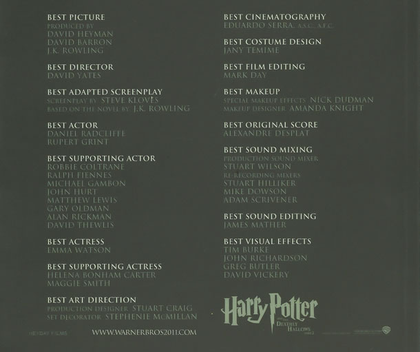 Harry Potter and the Deathly Hallows: Part 2 Oscar predictions