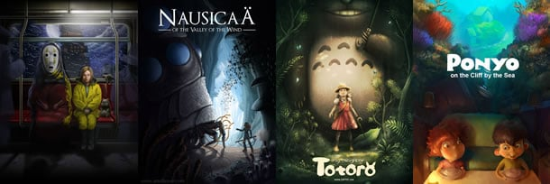 Re-imagined posters for classic Hideo Miyazaki films