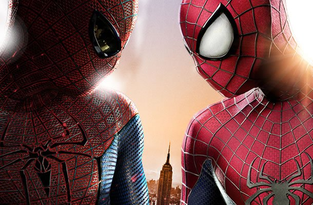 The Amazing Spider-Man suit (left) and The Amazing Spider-Man 2 suit