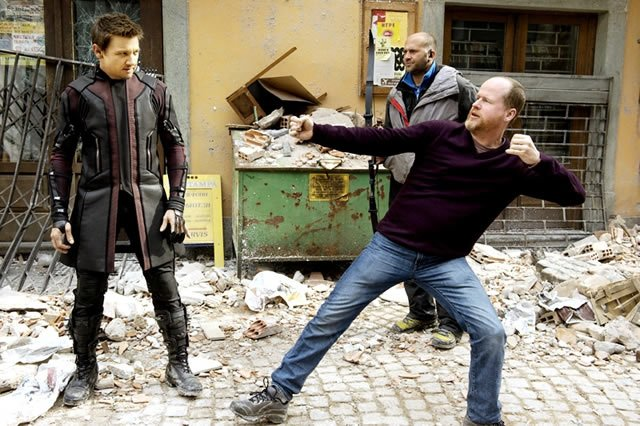 Jeremy Renner and Joss Whedon on the set of Avengers: Age of Ultron