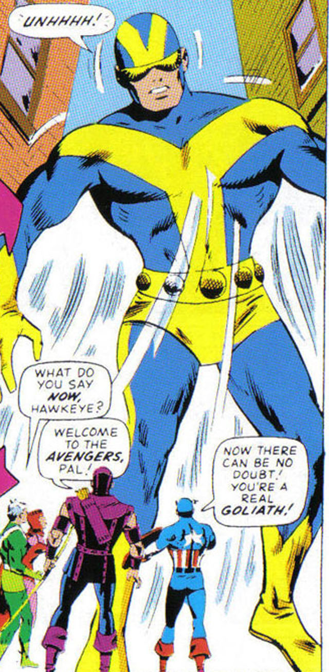 Giant-Man lasted about three years before Pym became Goliath in Avengers #28.