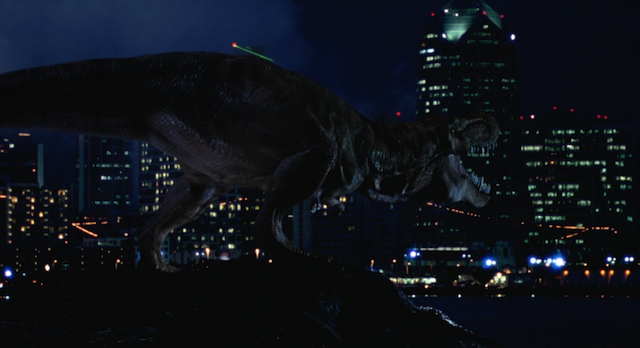 The T. Rex attacking San Diego is an important moment in the Jurassic World story history.