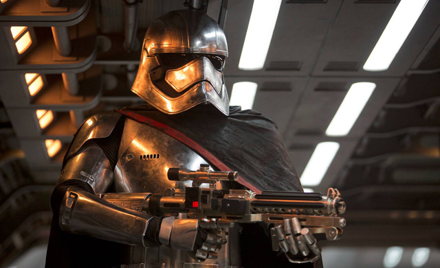 Captain Phasma is played by Gwendoline Christie, part of the Star Wars: The Force Awakens cast.
