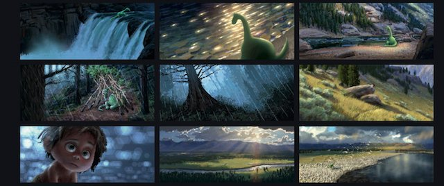 The Good Dinosaur story can be glimpsed through the color script.