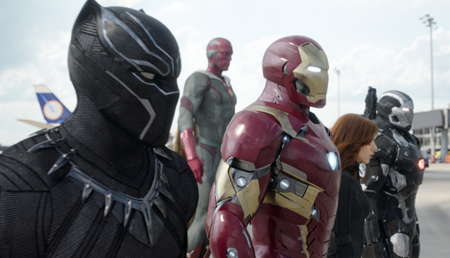 Boseman, Bettany, Mackie and Stan on Captain America: Civil War