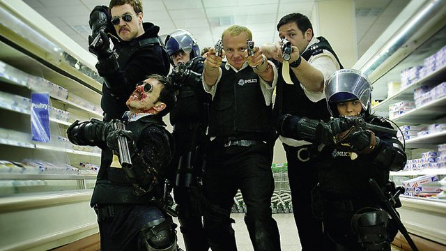Hot Fuzz is one of three Simon Pegg movies directed by Edgar Wright.