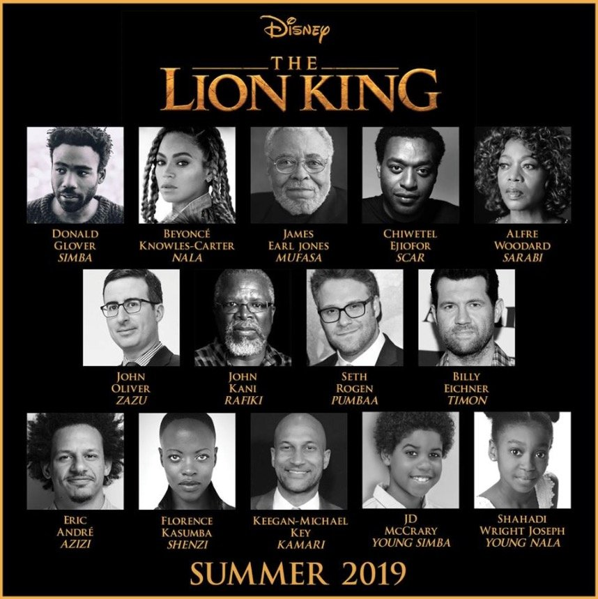 The full cast of The Lion King announced, including Beyoncé