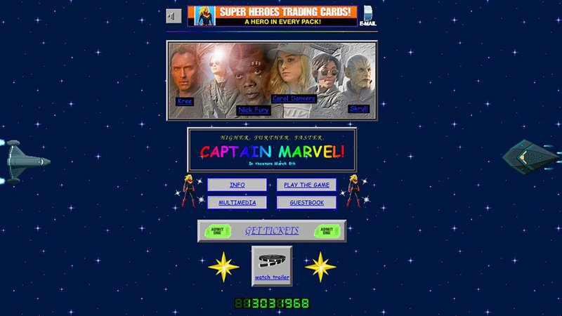 The Captain Marvel Website Is Every '90s Kid's Obsession