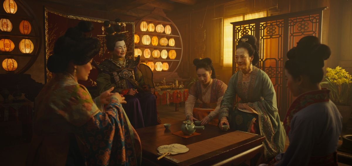 Disney's MULANL to R: Groom's mother, Matchmaker (Pei-Pei Cheng), Xiu (Xana Tang), Wuwei (Rosalind Chao) and Mulan (Yifei Liu)Photo: Film Frame© 2019 Disney Enterprises, Inc. All Rights Reserved.
