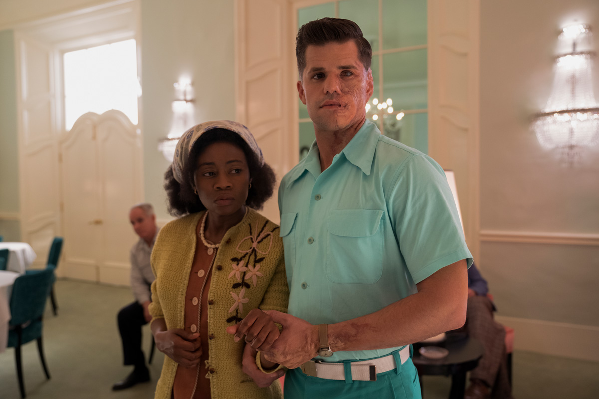 RATCHED (L to R) LIZ FEMI as LEONA and CHARLIE CARVER as HUCK FINNIGAN in episode 101 of RATCHED Cr. SAEED ADYANI/NETFLIX © 2020