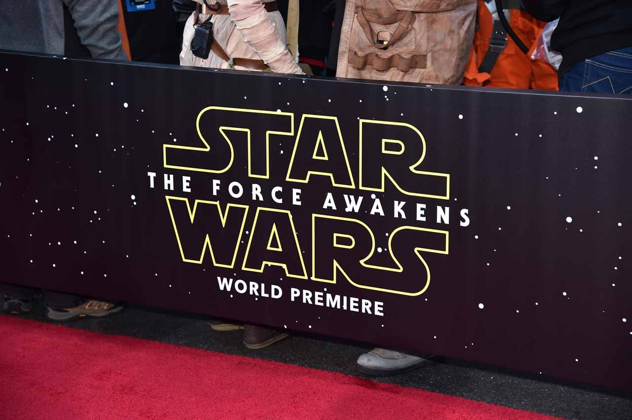 HOLLYWOOD, CA - DECEMBER 14: Star Wars signage is seen during the World Premiere of ?Star Wars: The Force Awakens? at the Dolby, El Capitan, and TCL Theatres on December 14, 2015 in Hollywood, California. (Photo by Alberto E. Rodriguez/Getty Images for Disney)
